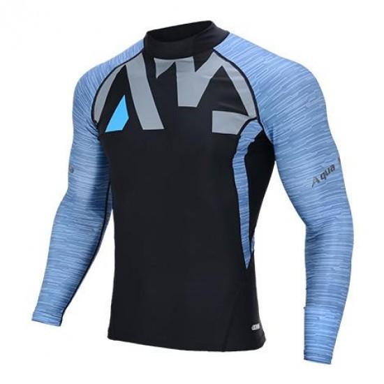 Aqua Marina Men's Rashguard LS Blue