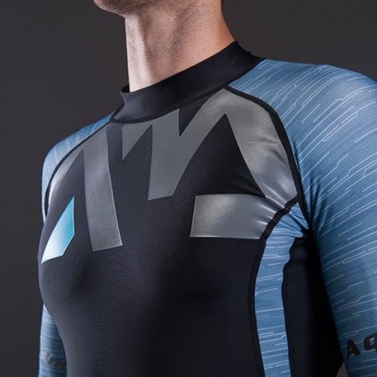 Aqua Marina Men's Rashguard LS Blue & Grey